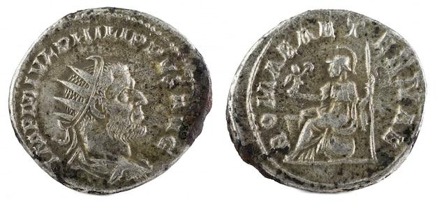 Oude romeinse zilveren munt van philip i.