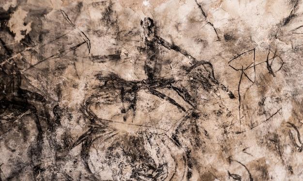 Oude rots schilderij op grotmuur in cappadocië, turkije