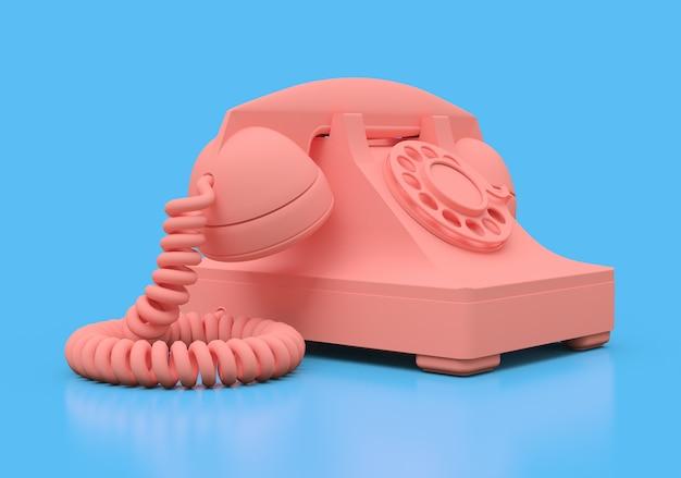 Oude roze telefoon op een blauwe ondergrond