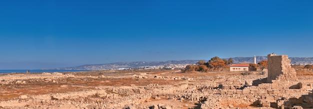 Oude ruïnes in het archeologische park van kato paphos op cyprus