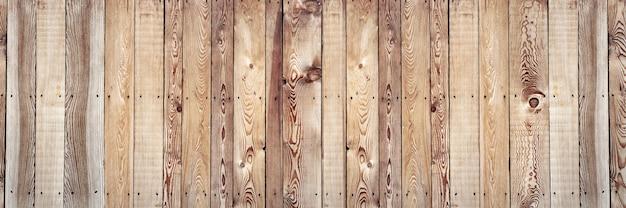 Oude ruwe planken in dennenboom genageld en vormen een panoramische houten achtergrond