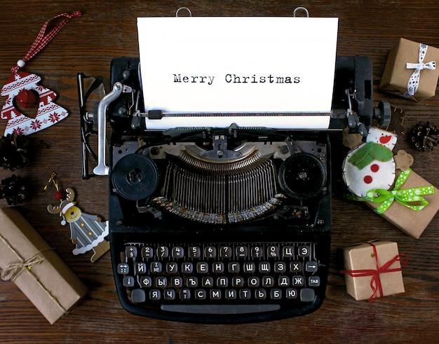 Oude schrijfmachine tekst merry christmas