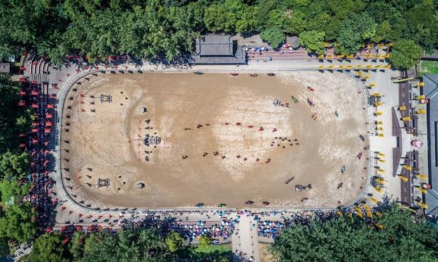 Oude slagveld prestatie in sanguocheng. wuxi china