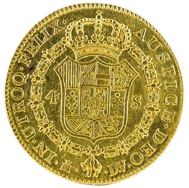 Oude spaanse gouden munt van koning carlos iii geïsoleerd
