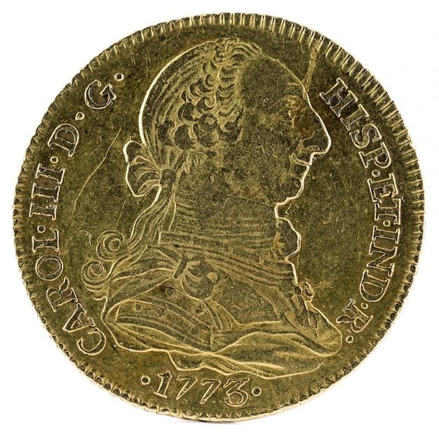 Oude spaanse gouden munt van koning carlos