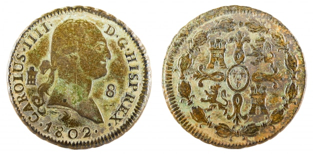 Oude spaanse koperen munt van de koning carlos iv.