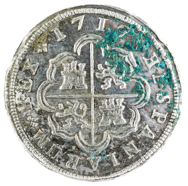 Oude spaanse zilveren munt van de koning felipe v