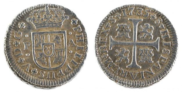 Oude spaanse zilveren munt van de koning felipe v.