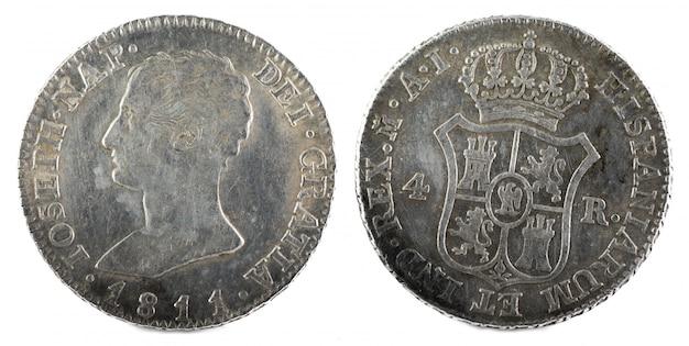 Oude spaanse zilveren munt van de koning jose napoleon.