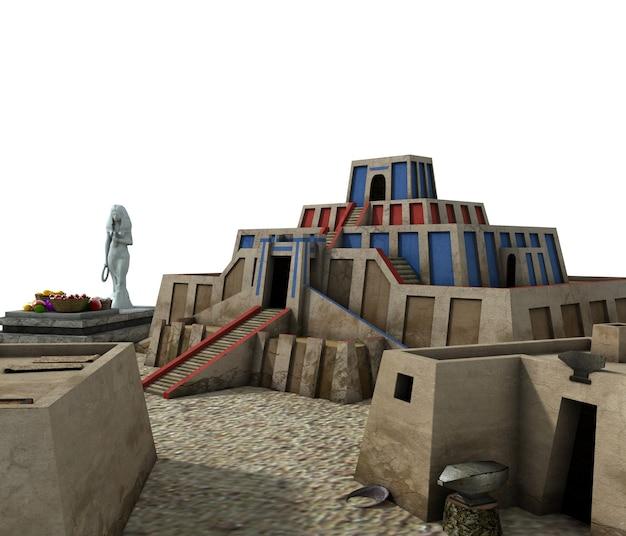 Oude stad, 3d-visualisatie, illustratie