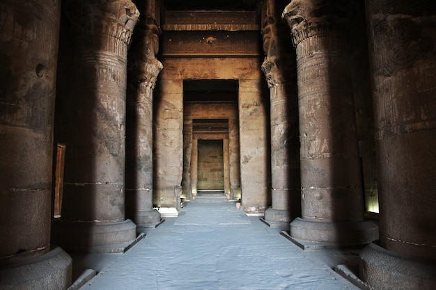 Oude tempel hathor in dendera, egypte