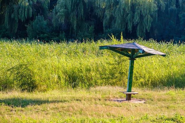 Oude vintage houten parasol op verlaten, met gras begroeide en rietrivierstrand op een zonnige zomerdag