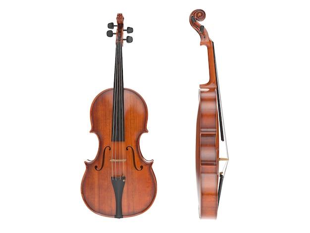 Oude viool geïsoleerd op wit