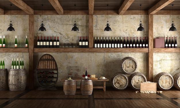 Oude wijnkelder met bankje om te proeven