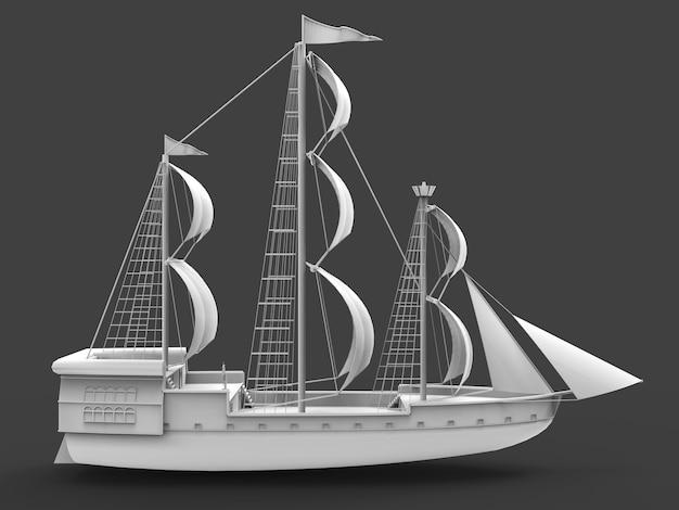 Oude zeilschip geïsoleerd