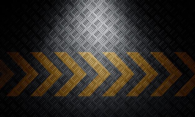 Oude zwarte grungy diamant metalen plaat oppervlak met voorzichtigheid waarschuwing chevron tape