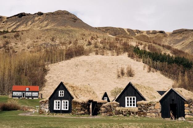 Oude zwarte houten huizen met een beurs op het dak tegen het bos