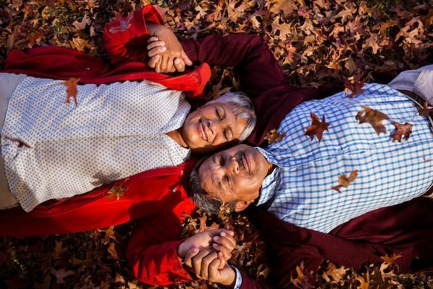 Ouder paar ontspannen in het park in de herfst