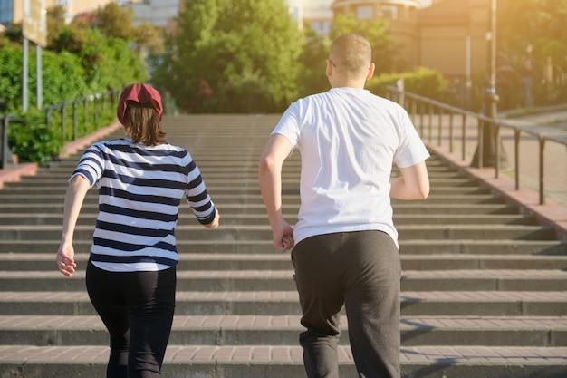 Outdoor running volwassen paar