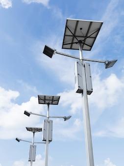 Outdoor zonnecel led-schijnwerper op blauwe lucht