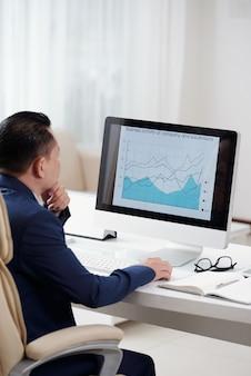 Over de schouder weergave van ondernemer analyseren van de zakelijke grafiek op het scherm van zijn desktopcomputer