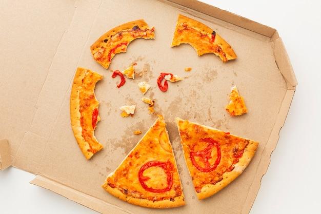 Overgebleven pizzavoedsel in een doos