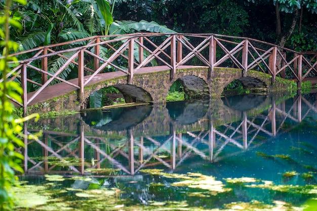 Overspannen brug over een meer met reflectie