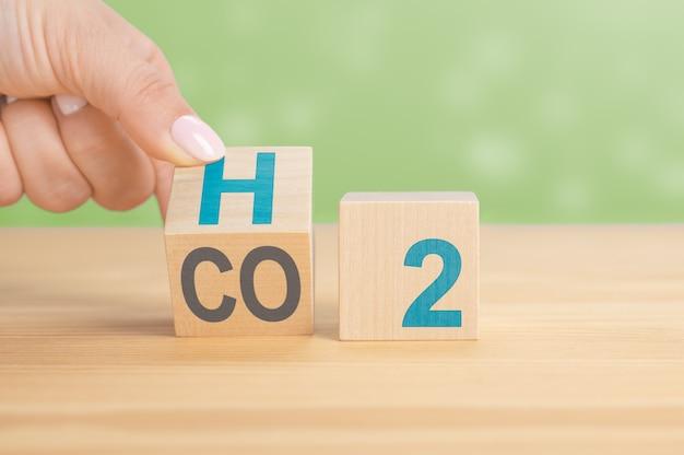 Overstappen op waterstof h2. overstappen op brandstofcelauto's. hand draait de kubus om en verandert de uitdrukking co2 in h2. hand gooit een dobbelsteen om en verandert de uitdrukking co2 in h2