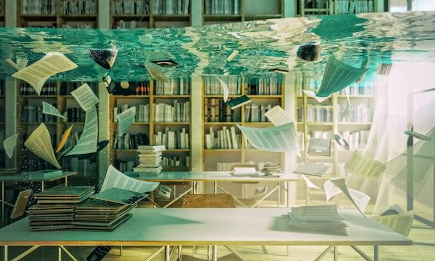 Overstroomde bibliotheek 3d