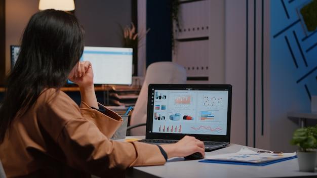 Overwerkte zakenvrouw die 's avonds laat financiële statistieken typt op een laptop aan de bureautafel in het kantoor van een opstartend bedrijf