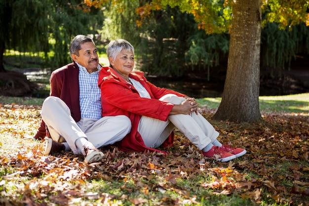Overwogen paar zittend op herfstbladeren