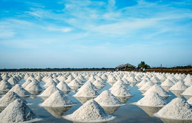 Overzeese zoute landbouwbedrijf en schuur in thailand. organisch zeezout. industriële grondstof van zout. natriumchloride. verdampingssysteem op zonne-energie. jodiumbron. werknemer die in boerderij werkt.