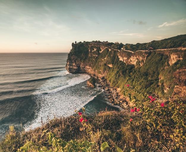 Overzicht panorama oceaan kust, klif. zonsondergang. bali. overweldigd tafereel de bloem en groen-afgedekte verticale klif boven de indische oceaan. ten zuiden van het eiland bali, de pura luhur uluwatu-tempel. indonesië.