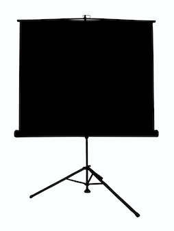 Overzichtsillustratie van een projectiescherm op een statief op een afgelegen witte achtergrond. er is plaats voor een inscriptie
