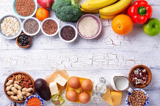 Ovo-lacto vegetarisch gezond dieet concept.