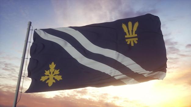 Oxfordshire vlag, engeland, zwaaien in de wind, lucht en zon achtergrond. 3d-rendering