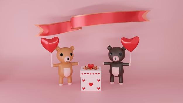Paar beren met rood hart voor de viering van happy valentines day, 3d-rendering