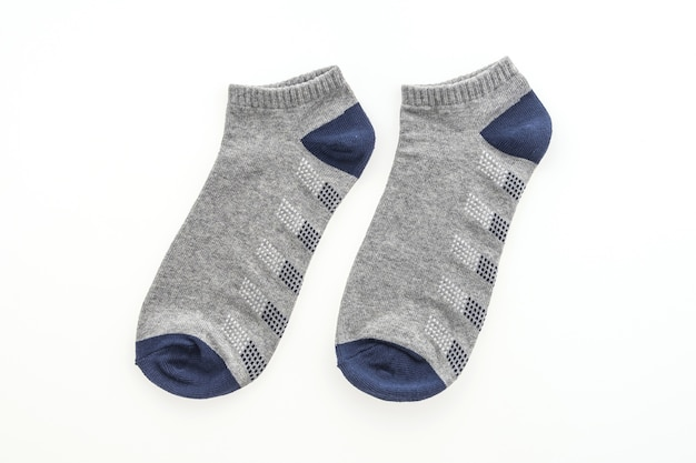 Paar blauwe en grijze sokken