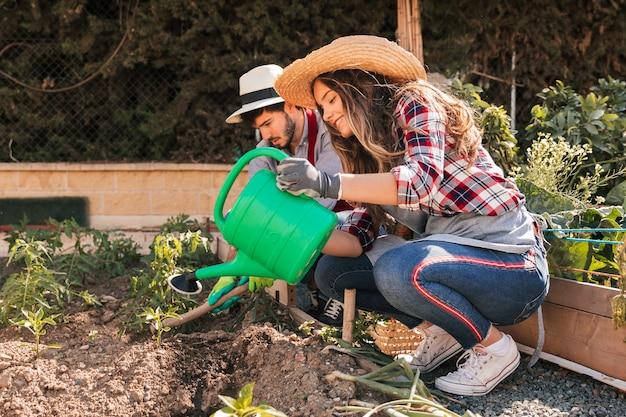 Paar dat de installaties in de binnenlandse tuin tuiniert
