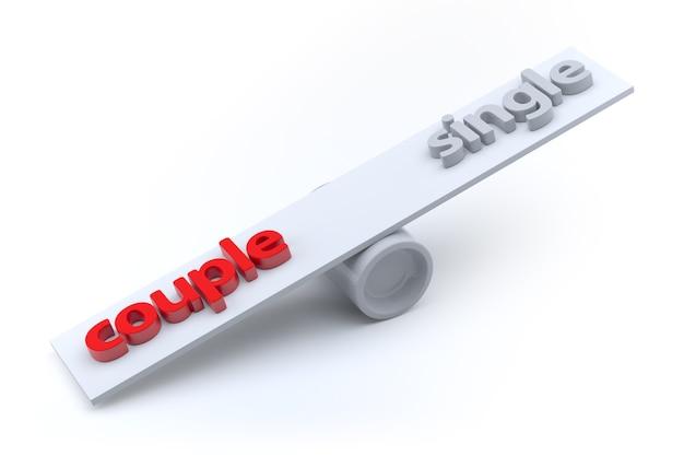 Paar en enkel concept, 3d-rendering