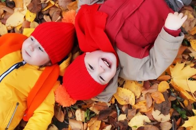 Paar kinderen broer en zus in de herfst die in bladeren liggen