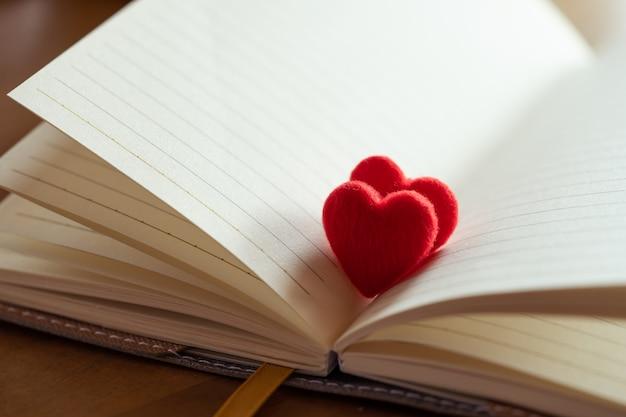 Paar kleine rode harten in een geopende pagina van literatuur,