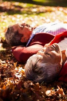 Paar liggend in het park in de herfst