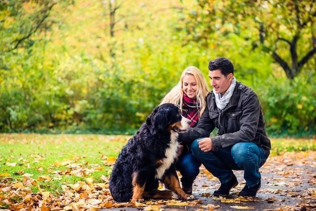 Paar met hond die van de herfst in aard geniet