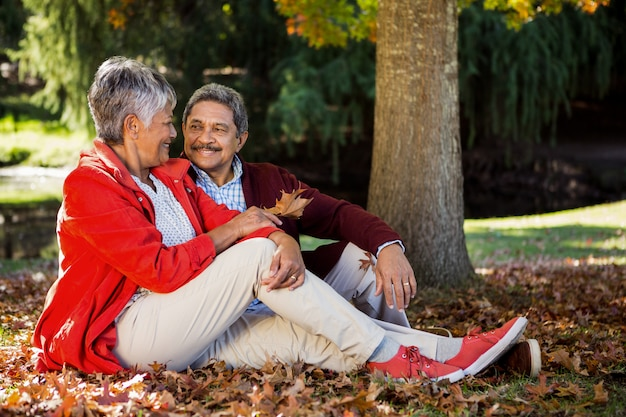 Paar ontspannen in het park in de herfst