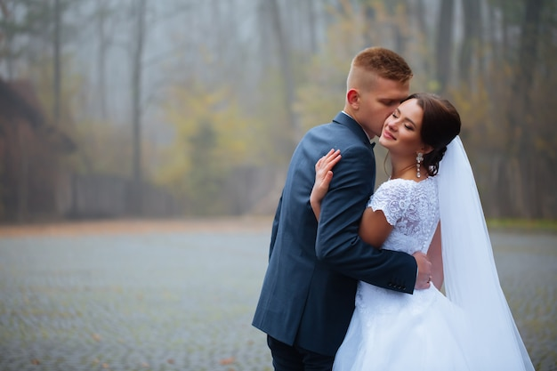 Paar pasgetrouwden, bruid en bruidegom hand in hand en zoenen in park
