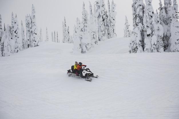 Paar rijdende sneeuwscooter in besneeuwde alpen
