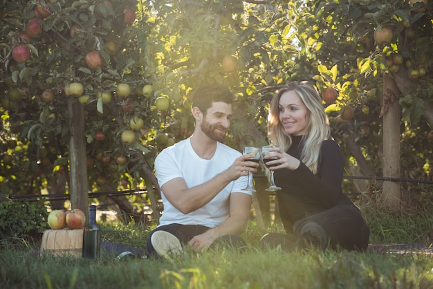 Paar roosterende glazen wijn in appelboomgaard