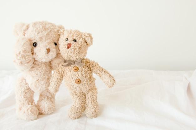 Paar teddybeer omarmen met verliefd op valentijnsdag