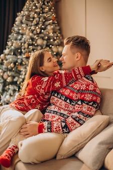 Paar zittend op de bus samen bij de kerstboom